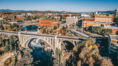 aerial photo of downtown spokane